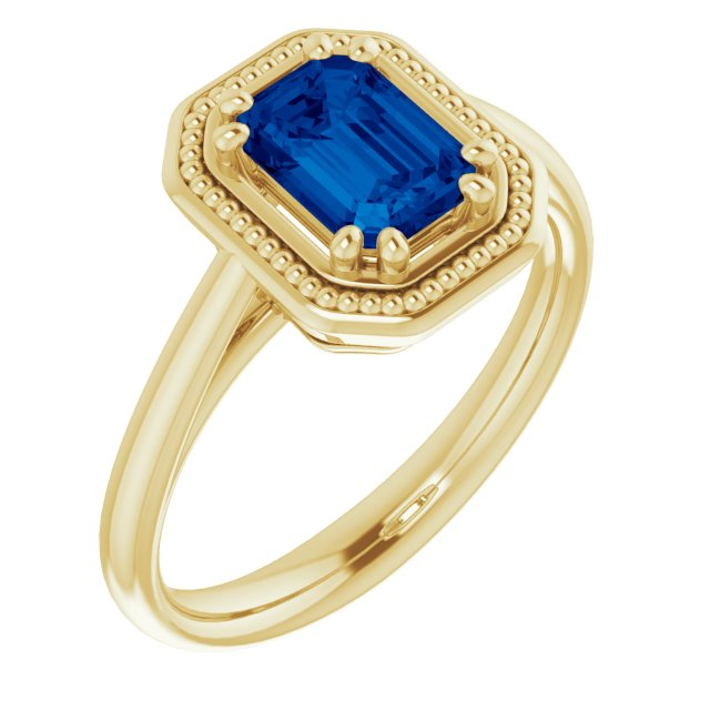 Emerald Cut Sapphire Ring With Beaded Halo