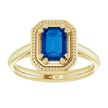 Load image into Gallery viewer, Emerald Cut Sapphire Ring With Beaded Halo