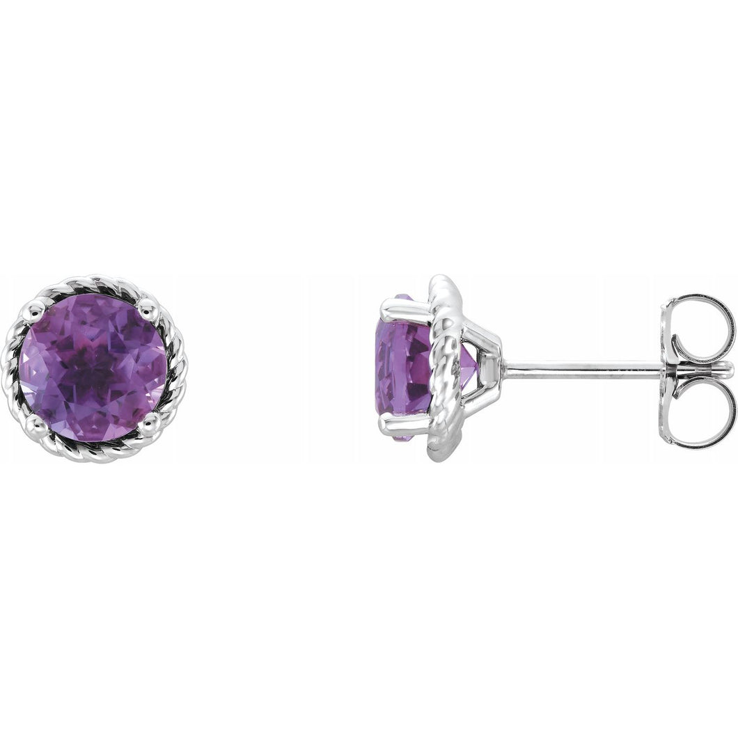 Round Amethyst Rope Halo Earrings