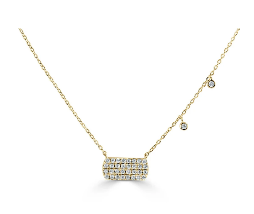 Round Diamond Cluster Necklace With Bezel Set Diamonds On Chain