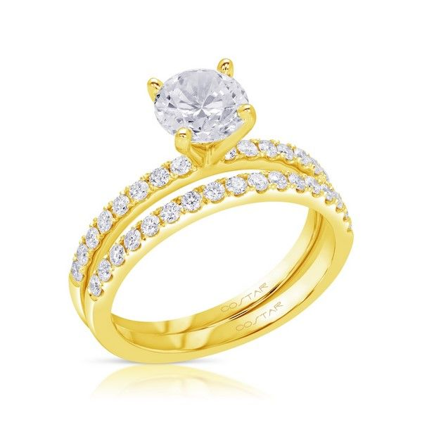 Round diamond accented solitaire