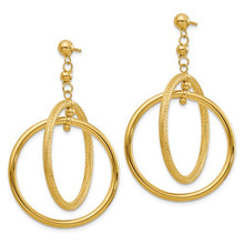 Load image into Gallery viewer, Polished & Textured Open Circle Dangle Earrings