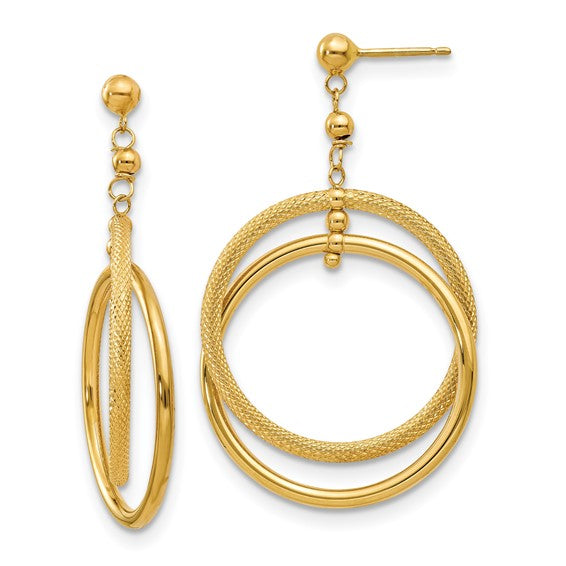 Polished & Textured Open Circle Dangle Earrings