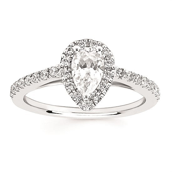 Round Diamond Pear Halo Engagement Ring