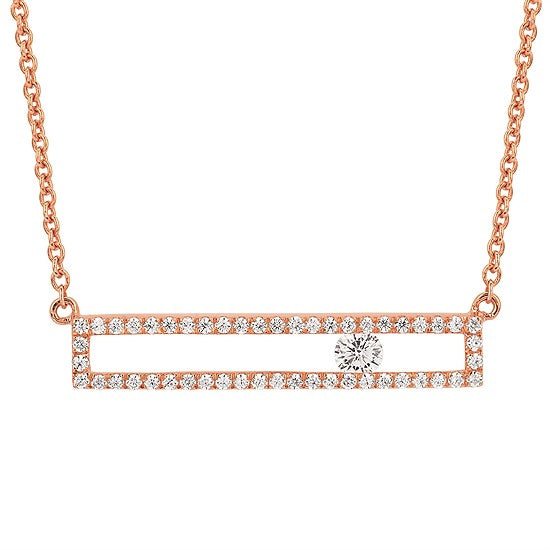 Sliding Round Diamond Bar Necklace