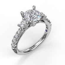 Load image into Gallery viewer, Three Stone With Pavé Engagement Ring