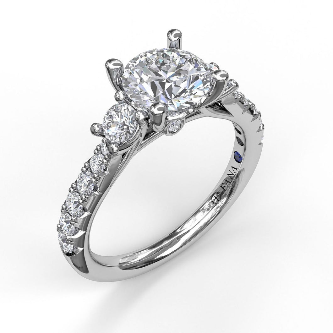 Three Stone With Pavé Engagement Ring