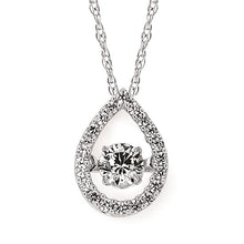 Load image into Gallery viewer, Round Dancing Diamond Open Teardrop Necklace