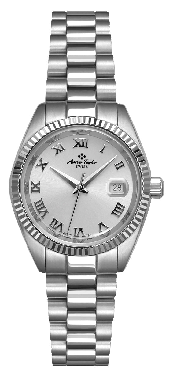 Stainless Roman Numeral Mid-Size Aaron-Taylor With Silver Dial