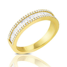 Load image into Gallery viewer, 3 Row Baguette & Round Diamond Band