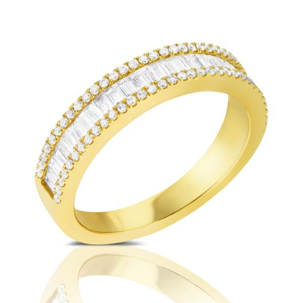 3 Row Baguette & Round Diamond Band