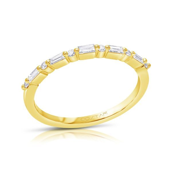 Alternating Round & Baguette Diamond Band