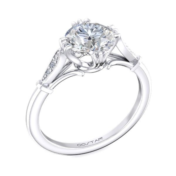 Round Diamond Twin Prong Engagement Ring