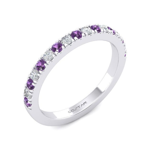 Alternating Round Amethyst & Diamond Band