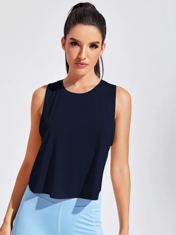 Featherweight Cross Back Tank Top - Navy Blue