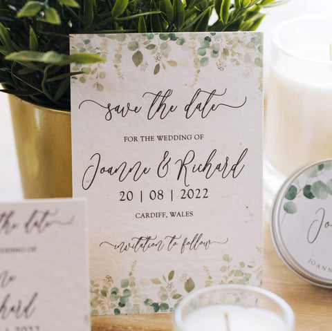 Green Manatee's plastic free green floral save the date plantable card