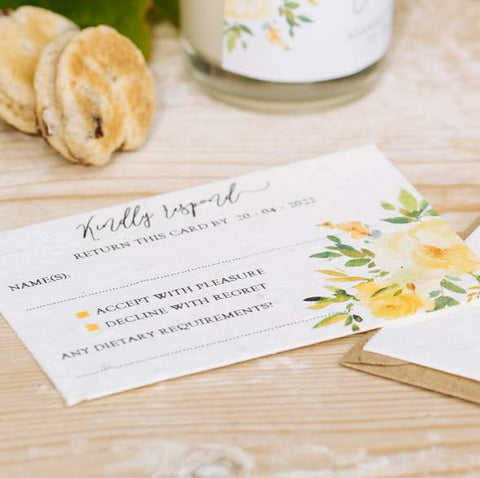 Green Manatee's recycled and plantable wedding invite