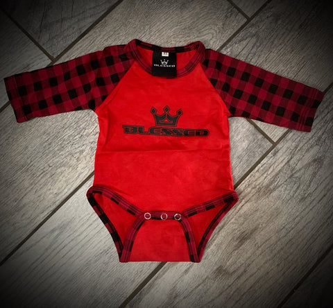 Plaid Raglan Onesie