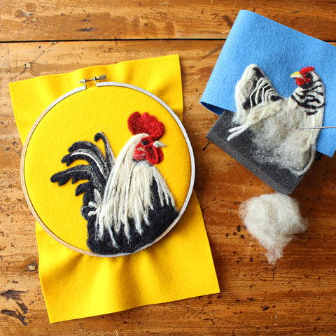 Flat Felting Chickens - Felt as Canvas - Thursday July 25, 10am-12pm