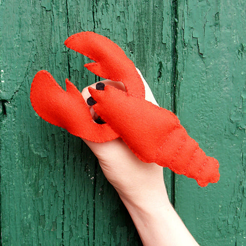 Wool Felt Red Lobster Finger Puppet Kit