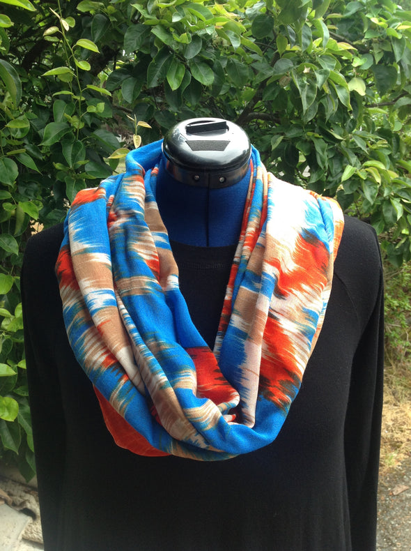 "Wayi Bamboo light weight "" Blue & Orange Ink"" scarf"