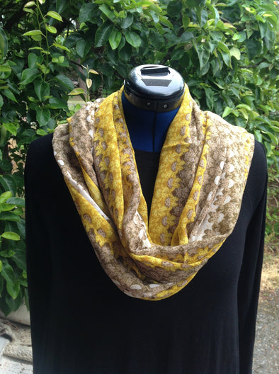 "Wayi Bamboo light weight "" Yellow & Brown Hana Strip"" scarf"