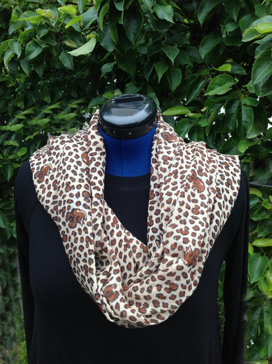 "Wayi Bamboo light weight "" Brown Animal Print"" scarf"
