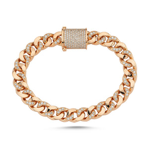 Load image into Gallery viewer, 14kt pink gold and diamond curb link bracelet