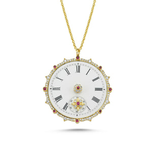 14kt yellow gold, diamond and ruby clock necklace