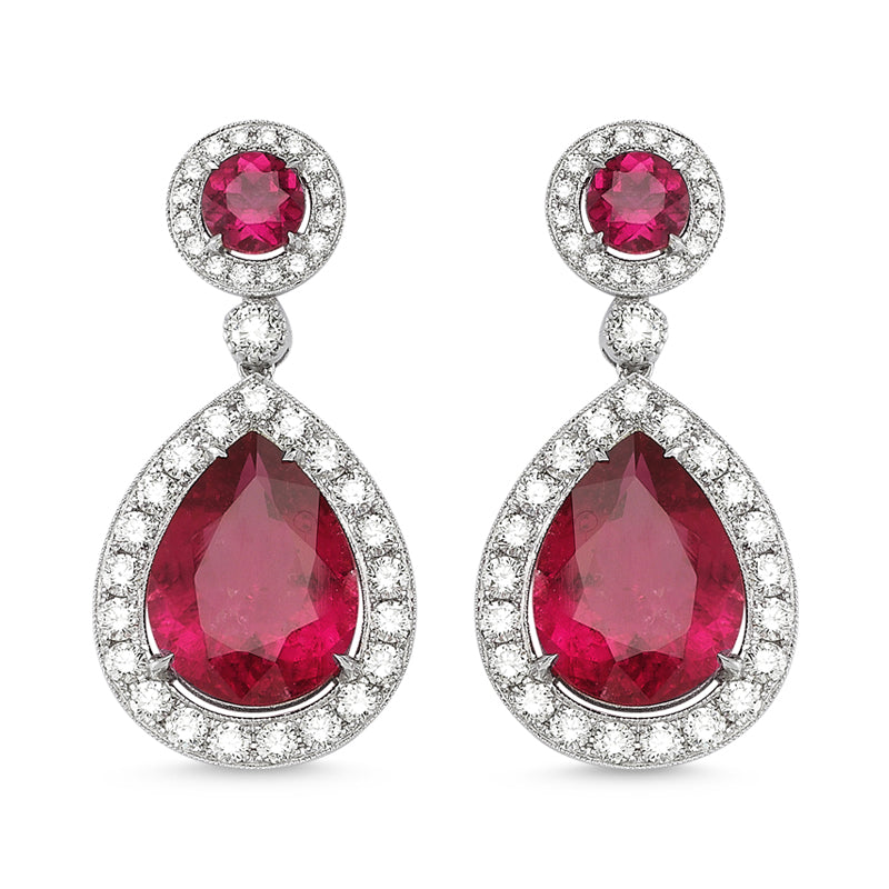 18kt white gold, diamond and rubellite earrings