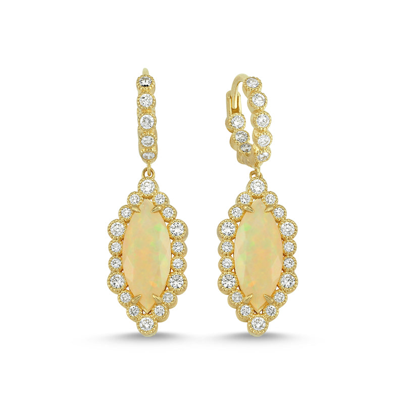 14kt yellow gold, diamond and Ethiopian opal earrings