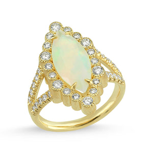 14kt yellow gold, diamond and Ethiopian opal ring