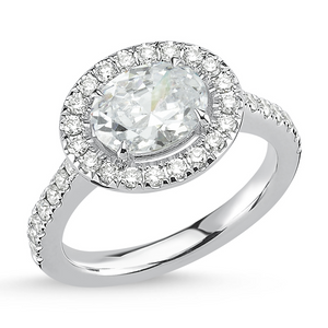 18kt white gold & oval diamond engagement ring with halo