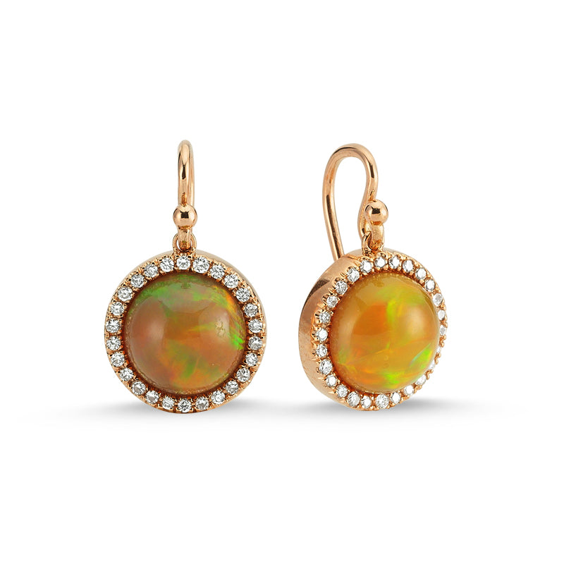 14kt pink gold, diamond and ethiopian opal earrings
