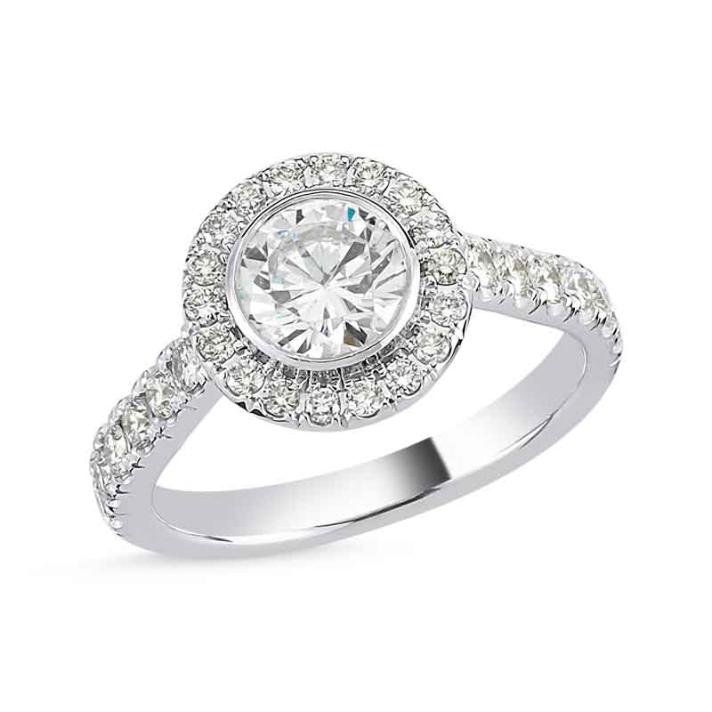 14kt white gold and round diamond engagement ring with halo