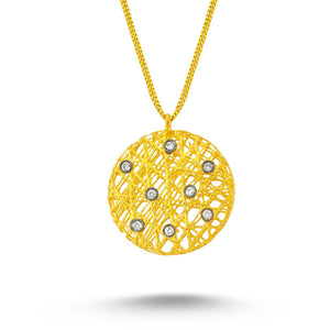 14kt yellow gold and diamond pendant