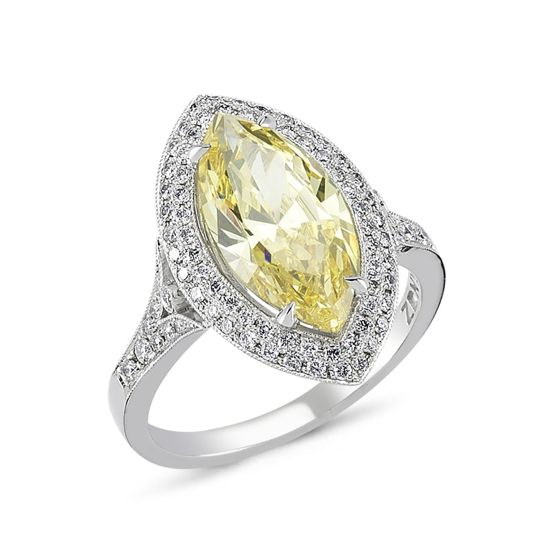 18kt white gold, diamond and  marquise  yellow cubic zirconium ring
