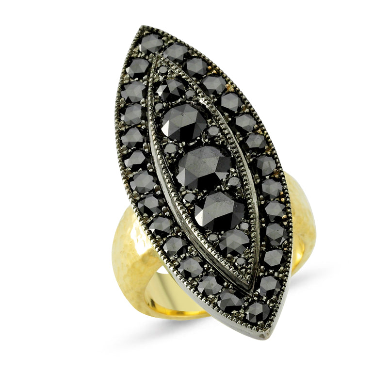 18kt yellow gold and silver, black diamond ring