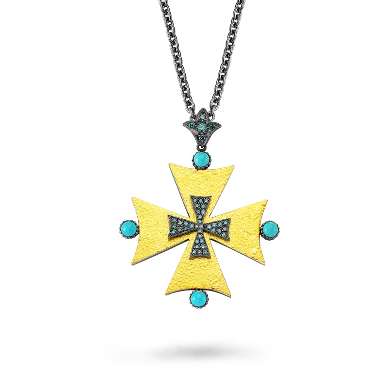 24kt high carat gold and silver, blue diamond and turquoise cross pendant
