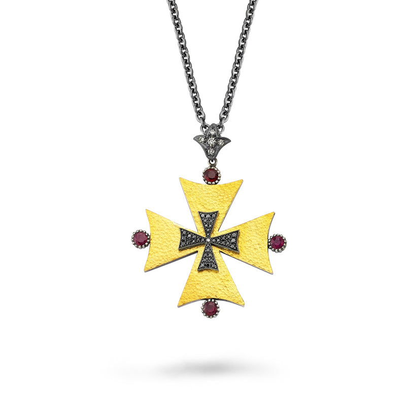 Load image into Gallery viewer, 24kt high carat gold and silver, black diamond, diamond and ruby cross pendant