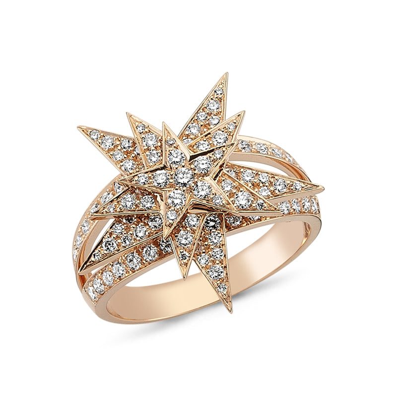 Load image into Gallery viewer, 18kt pink gold and diamond triple starburst ring