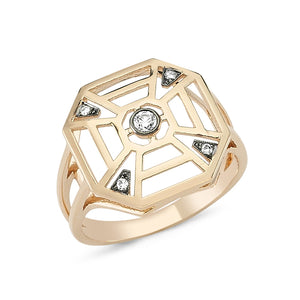 14kt pink gold and diamond octagon ring with split shank