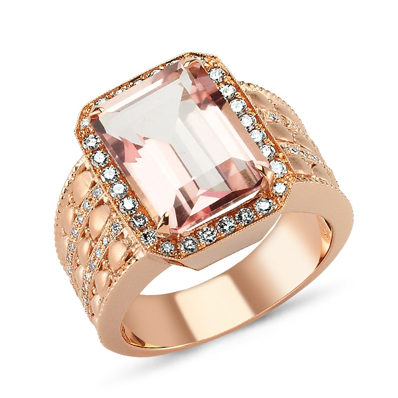 18kt pink gold, diamond and pink quartz ring