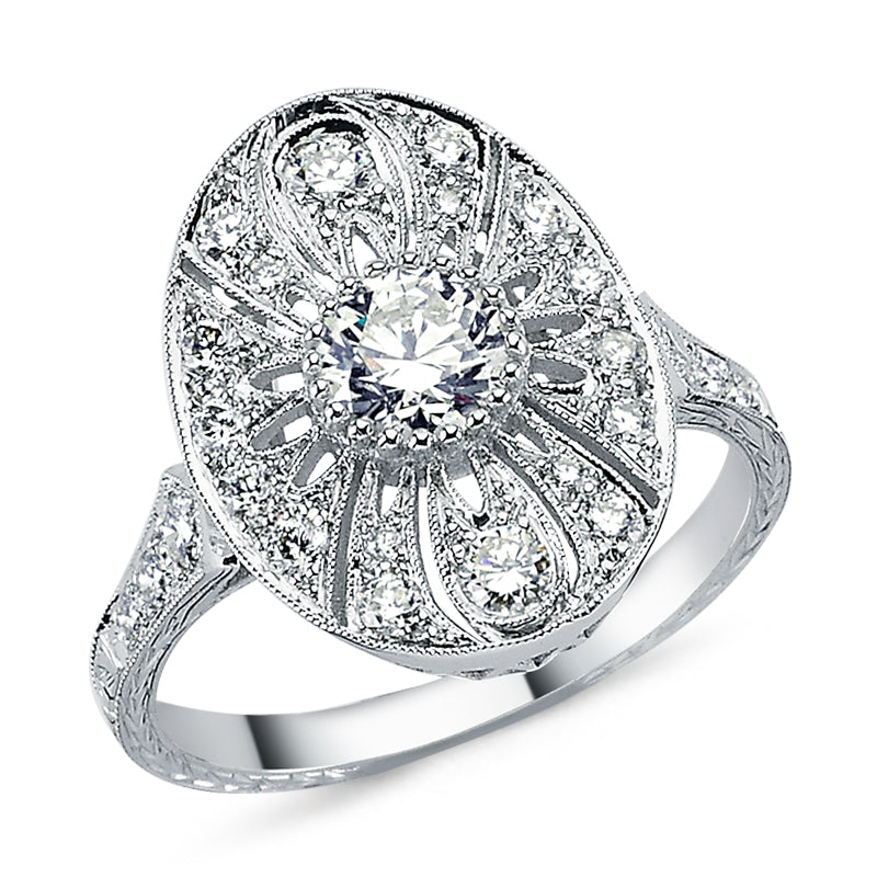 18kt white gold and diamond vintage look oval engagement ring