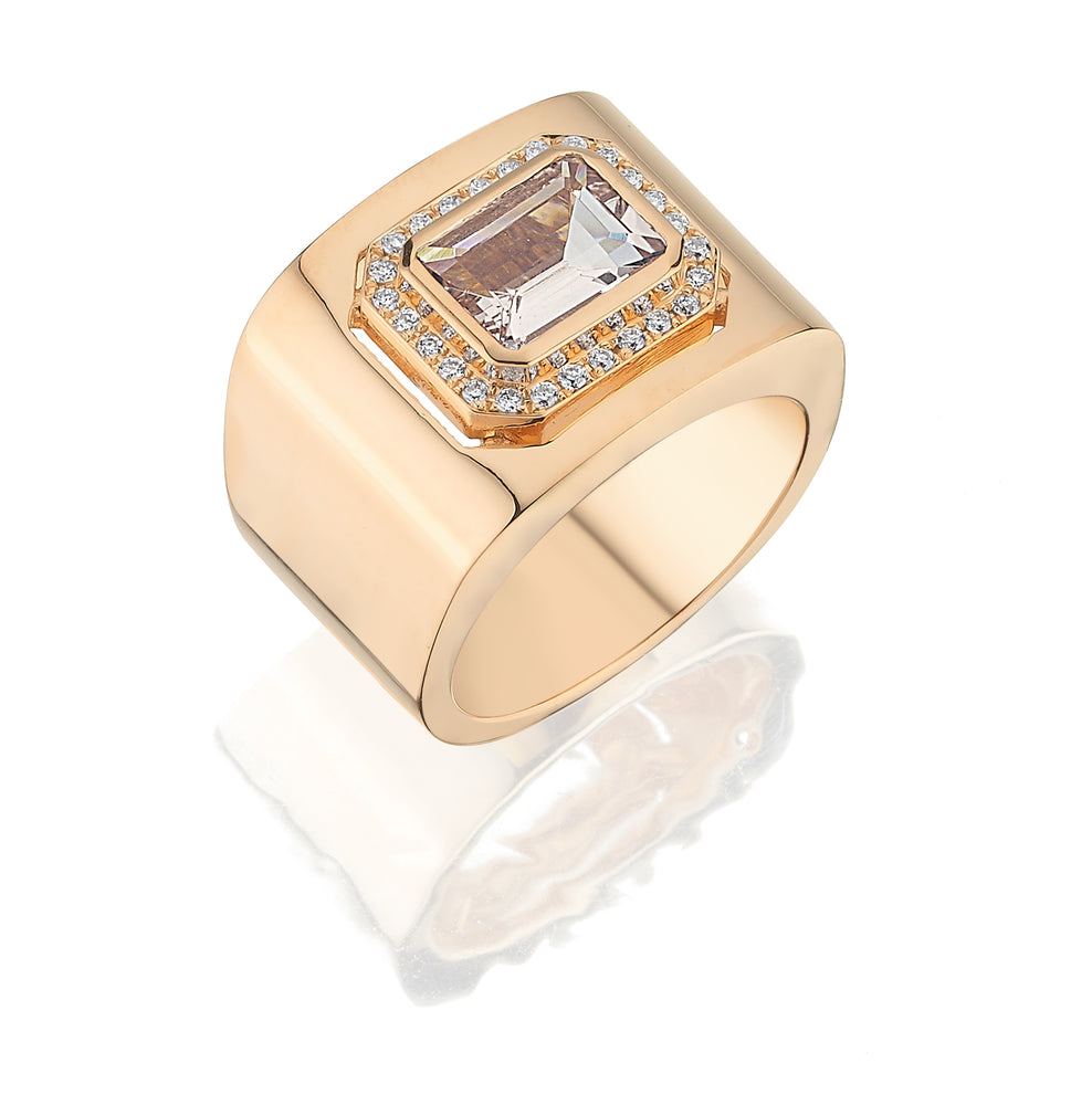 18kt pink gold, diamond and morganite ring