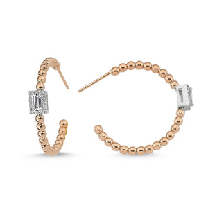 14kt pink gold diamond and white sapphire bead hoop earrings