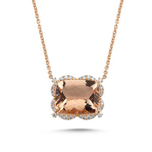18kt pink gold, diamond and morganite necklace