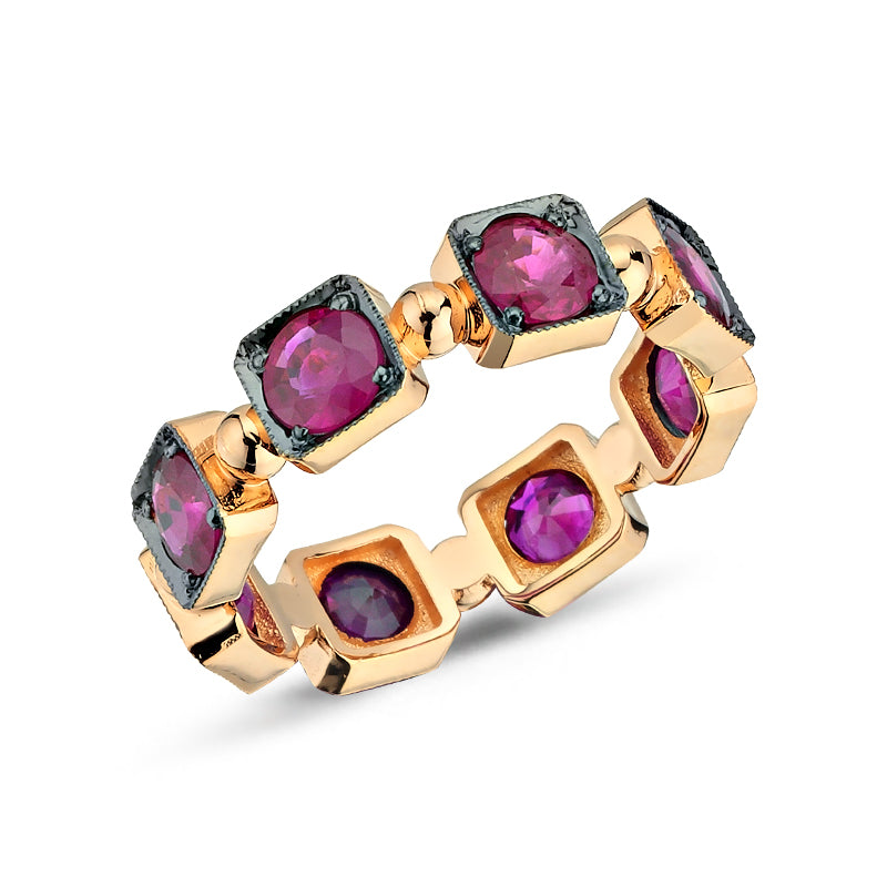 Load image into Gallery viewer, 14kt pink gold and ruby stackable nng