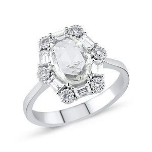 14kt white gold, diamond and white sapphire ring