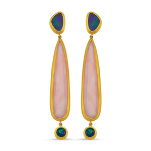 24kt high carat  gold blue and pink opal handmade earrings